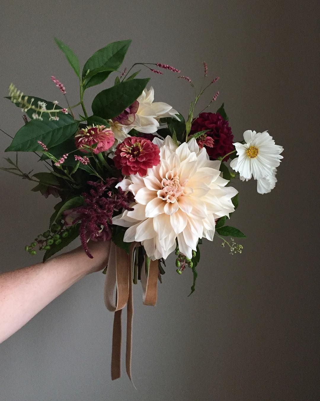 Late summer take on blush and burgundy flowers - natural bridal bouquet of cafe au lait dahlias, zinnias, amaranthus, pokeweed, burgundy pom dahlias, hellebore, and white cosmos | by Wild Green Yonder #whitebridalbouquets