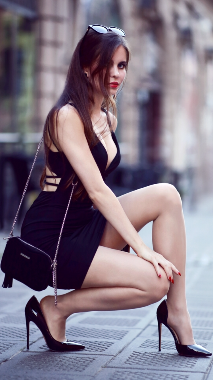 Small Black Dress With Neckline Flesh Pantyhose And Patent Leather Pointy Toe Stiletto Heels Pumps As Small Black Dress Pumps Heels Stilettos Fashion Tights [ 1334 x 750 Pixel ]