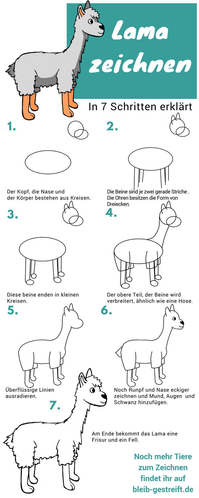 Lamas zeichnen lernen - eine Anleitung mit 7 Schritten #steinebemalenvorlagen