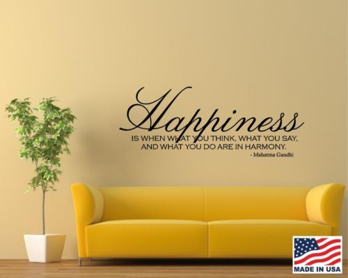 Vinyl Wall Decal Art Saying Decor Quote Smile Happiness Think Say Do ...