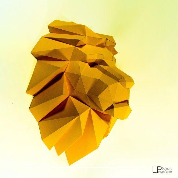 Lion Head,Lion paper, Lion lowpoly, Paper Trophy Lion,papercraft,3D ...