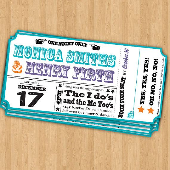 Music Ticket Wedding Invitations Rehearsal Dinner Pinterest - concert ticket invitations template
