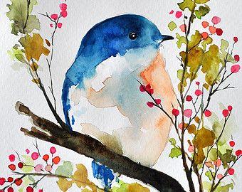 Peinture Aquarelle Originale Oiseau Dans Un Arbre De Printemps