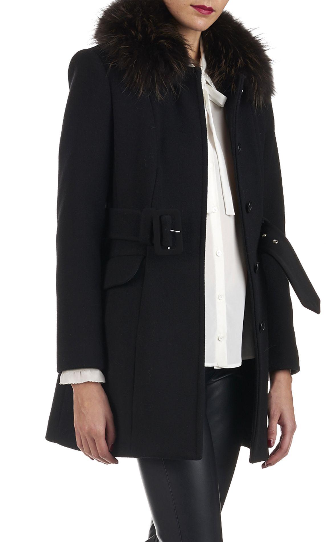 manteau col fourrure galant en laine noir by claudie pierlot fashion manteau manteau col. Black Bedroom Furniture Sets. Home Design Ideas