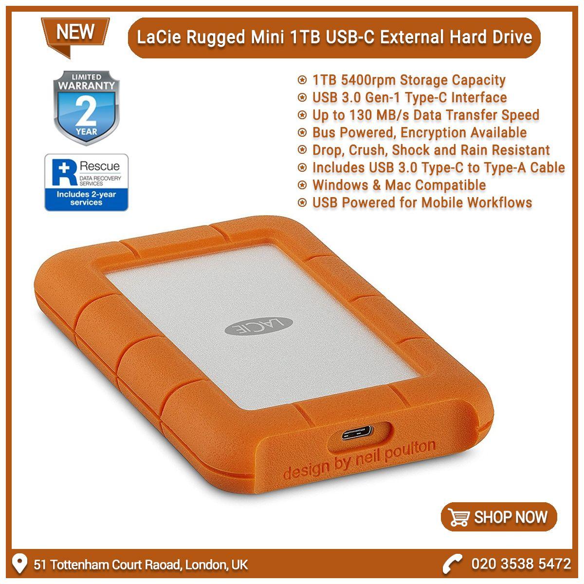 Lacie Stfr1000800 Rugged Mini 1tb Portable 2 5 Usb C 2018