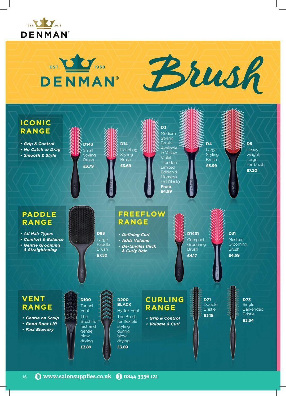 Salon Supplies Denman Brush Guide 2019 1000 in 2020