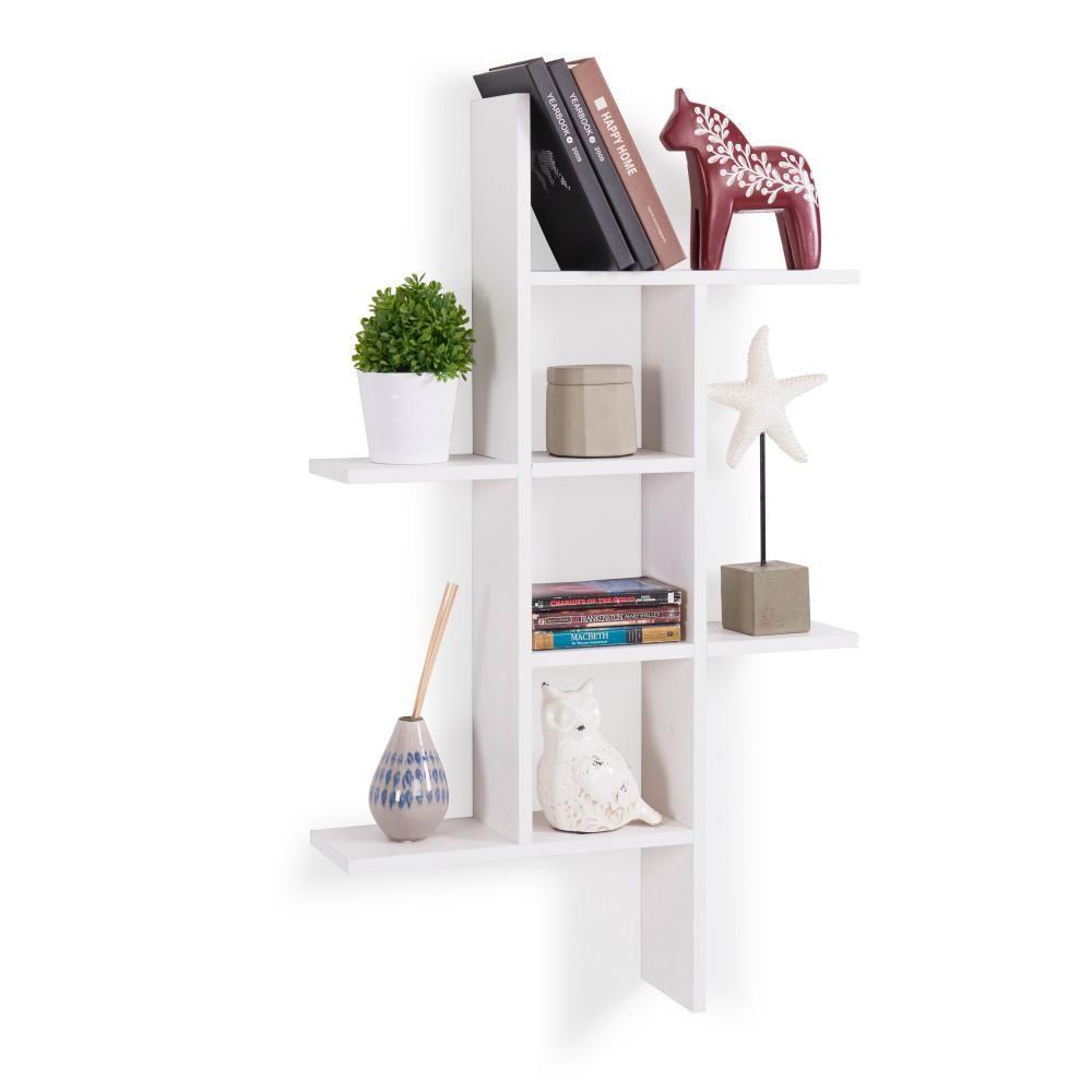 Danya B Cantilever White Mdf Floating Wall Shelf Wall Shelves