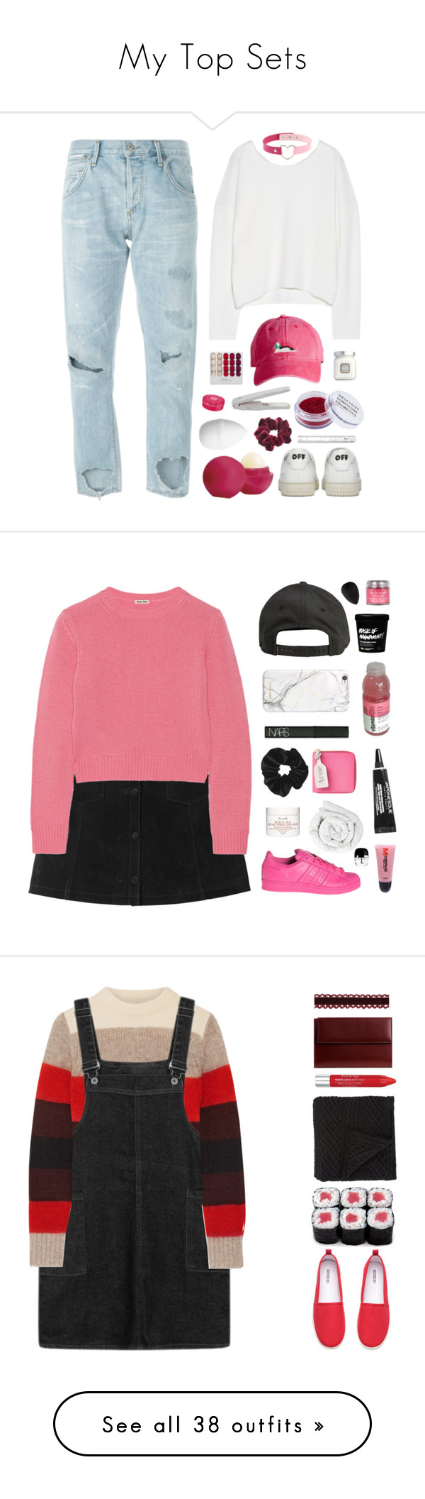 """My Top Sets"" by amazing-abby ❤ liked on Polyvore featuring Citizens of Humanity, Helmut Lang, H&M, Eos, Wild Pair, Harding-Lane, Off-White, Obsessive Compulsive Cosmetics, Laura Mercier and L'Occitane"