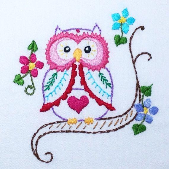 Owl Embroidery PDF Pattern   Bordado, Bordados mexicanos y Mexicanos