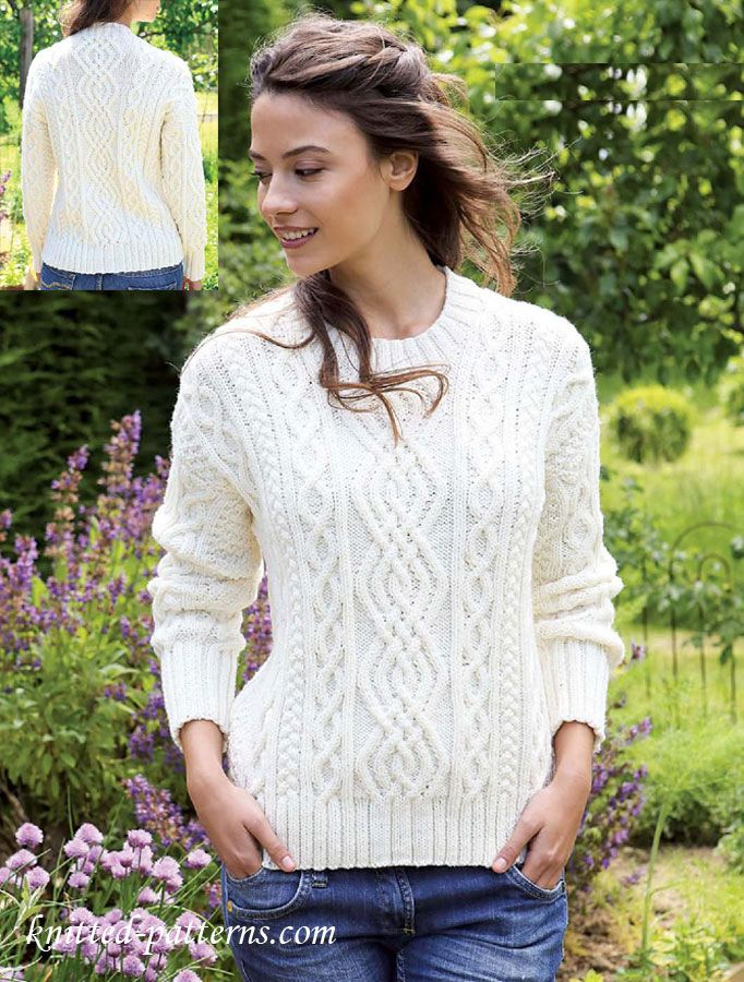 Women\'s aran jumper knitting pattern free | Free knitting patterns ...