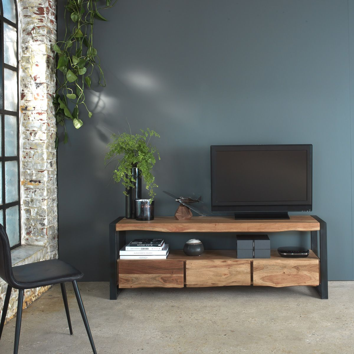 Meuble Tv Style Tronc Arbre Pieds Metal 3 Tiroirs Mobilier De Salon Meuble Idee Meuble Tv