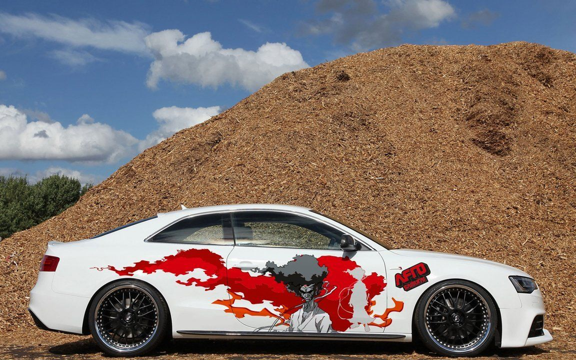 Amazon com full color car auto vinyl decal art afro samurai blood sun both sides va3 sports outdoors