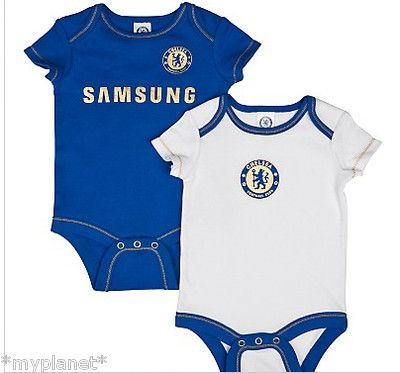 CHELSEA TWIN PACK OFFICIAL BABY GROW BODYSUIT FOOTBALL KIT VEST PICK SIZE  NEW