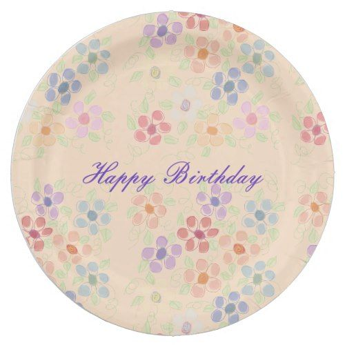 Pretty pastel flowered paper birthday plates birthday plate pretty pastel flowered paper birthday plates mightylinksfo
