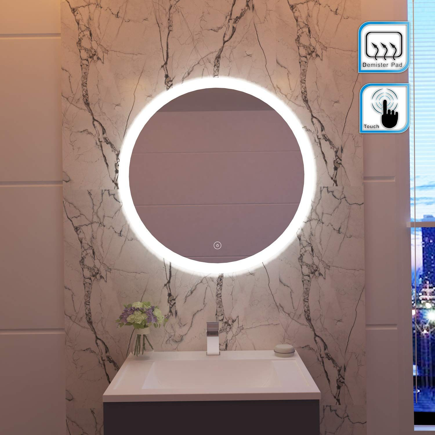 Elegant 600x600mm Round Illuminated Led Light Bathroom Mirror Backlit Makeup Mirror With Sensor Touch Led Mirror Bathroom Bathroom Mirror Mirror Wall Bathroom