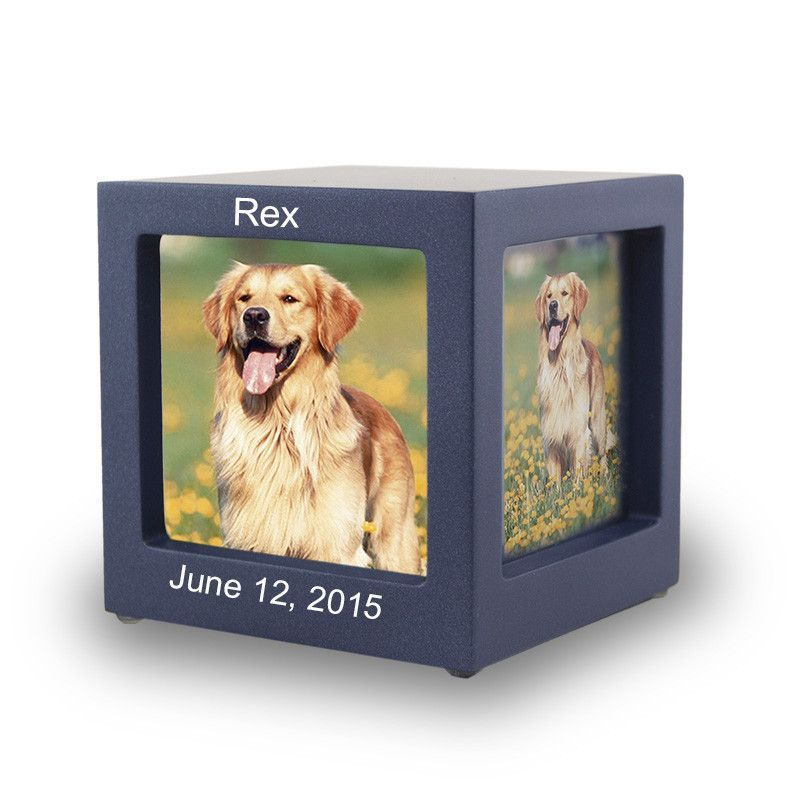 Navy Photo Cube Cremation Urn Extra Small Pet Urns Pet Caskets Pet Cremation Urns