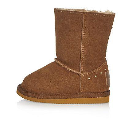 Mini girls tan studded soft boots  da974a4d8