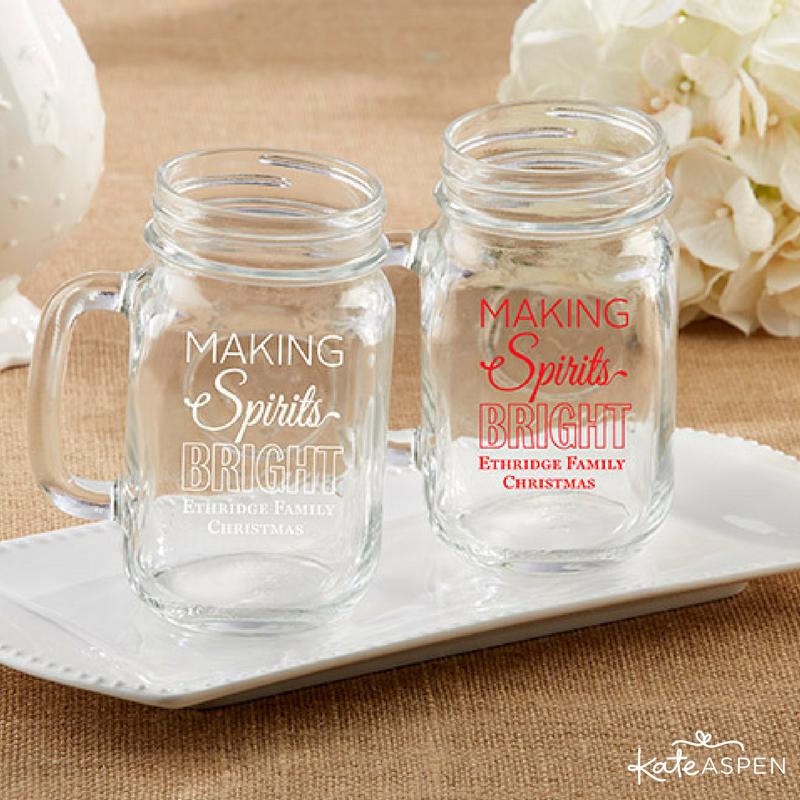 Making Spirits Bright Personalized Mason Mug 16 Oz Jars Custom