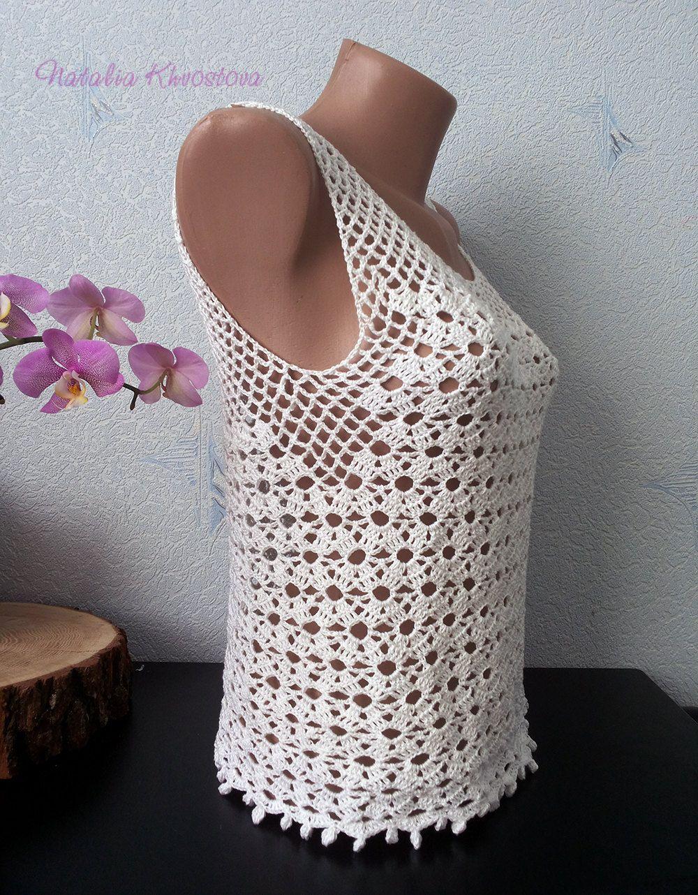 White crochet top Bohemian top Cotton top Crochet festival top Boho ...