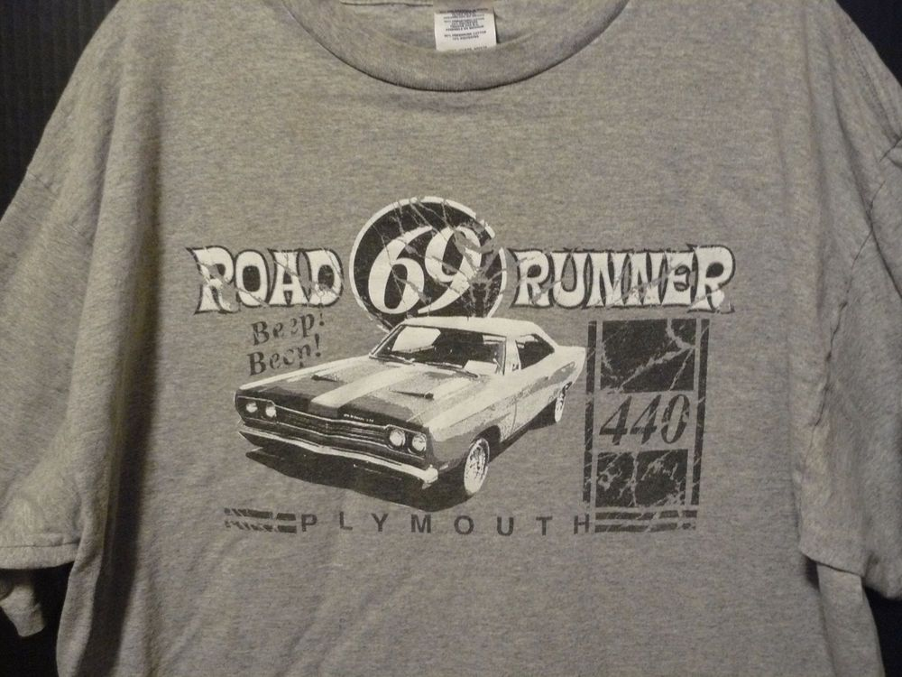 150db7d6 1969 Plymouth Road Runner 440 Car T-Shirt Size XL Gray Delta Pro Weight EUC  #Delta #GraphicTee