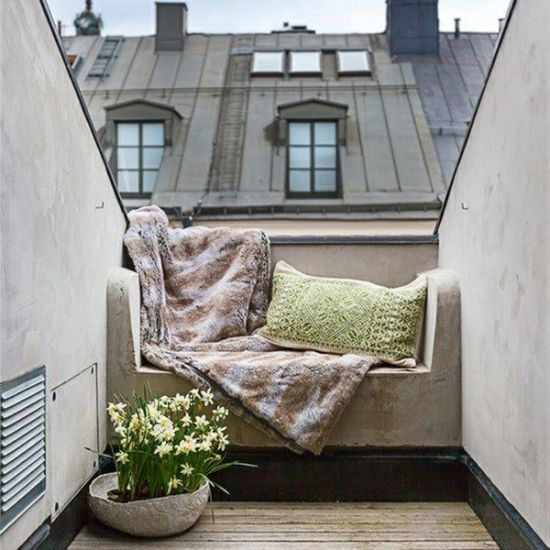 Sofa Kleiner Balkon Gestaltung Ideen