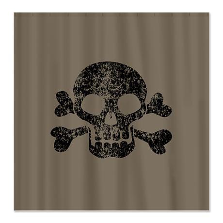 Worn Skull And Crossbones Shower Curtain By Missthree Skull