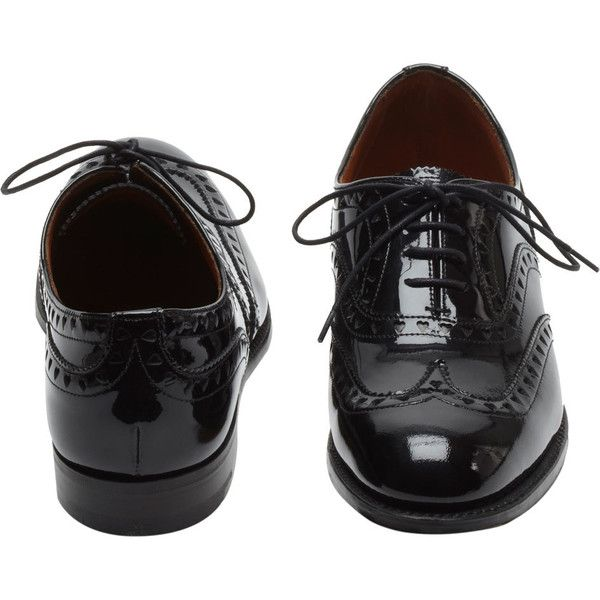 Lace Up Brogue Black Patent (¥37,780) ❤ liked on Polyvore featuring shoes, oxfords, flats, brogues, chaussures, black shoes, black patent leather flats, black flats, oxford flats and flat shoes