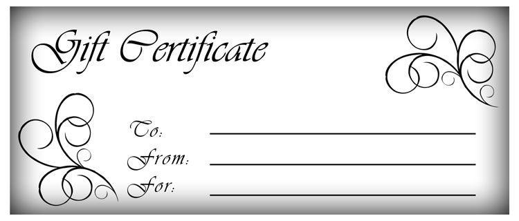 click here for full size printable gift certificate Gift - payment coupon template
