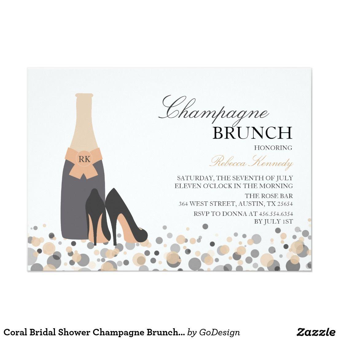Coral Bridal Shower Champagne Brunch Invite Wedding Bridal Brunch