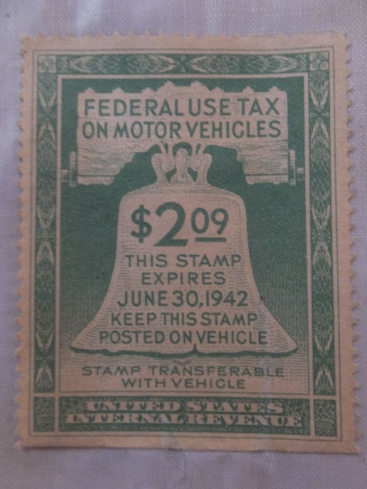 USA INTERNAL REVENUE 1941 FEDERAL USE ON TAX MOTOR VEHICLES