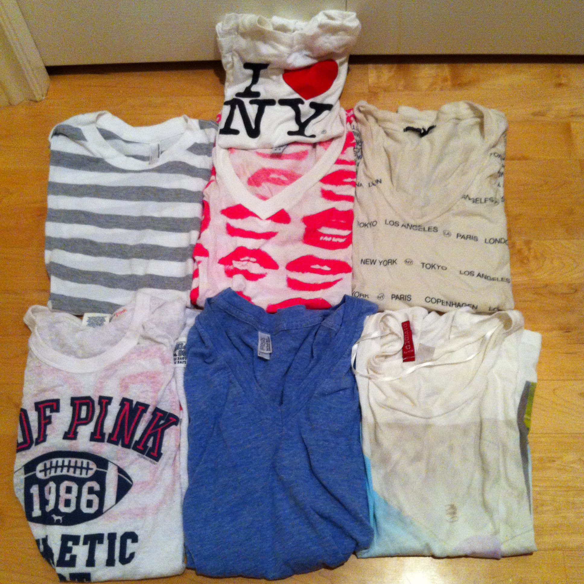 7 tees for $10 altogether / Sz S / Urban Outfitters, American Apparel, VS Pink, H&M -SOLD