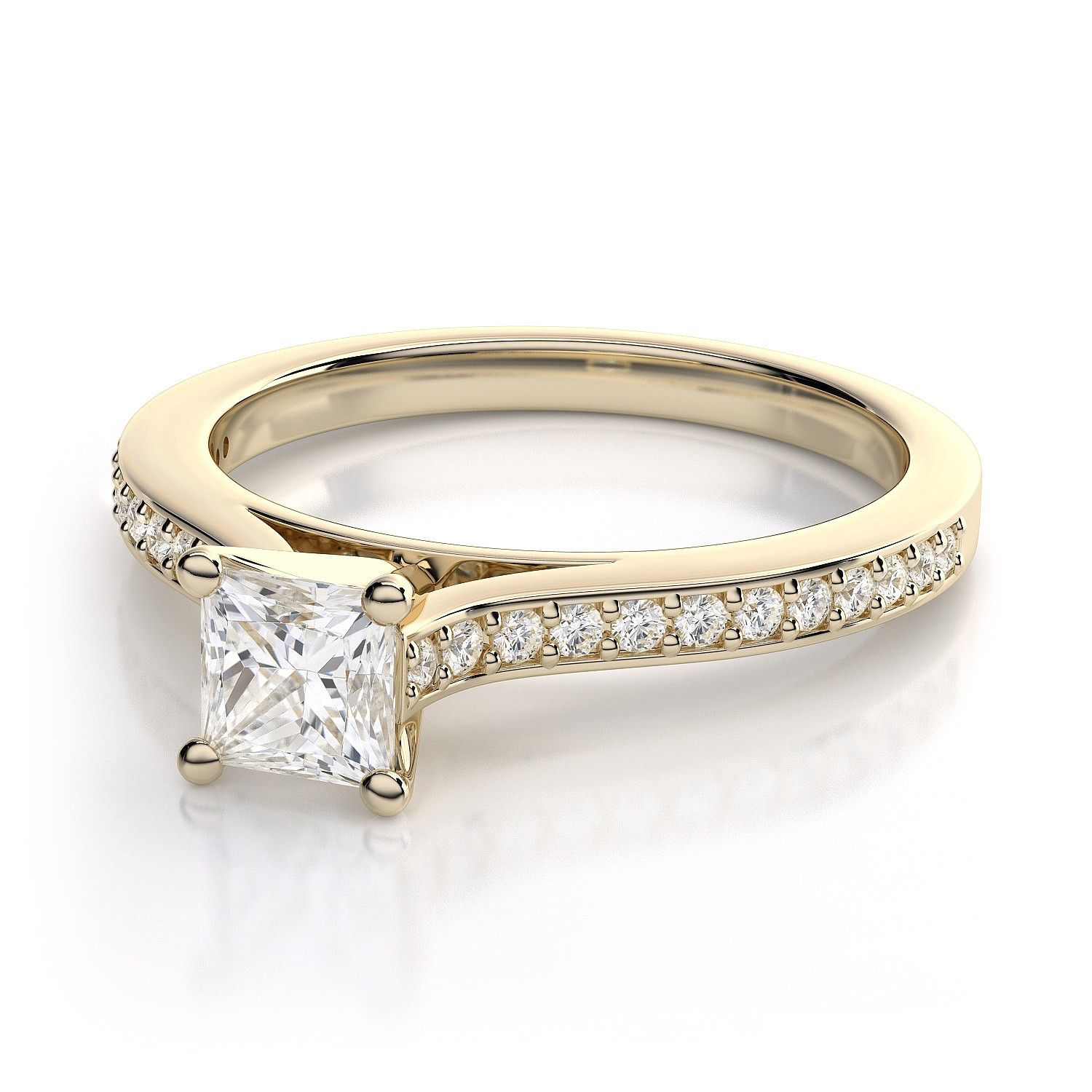 princess cut engagement rings with yellow stones