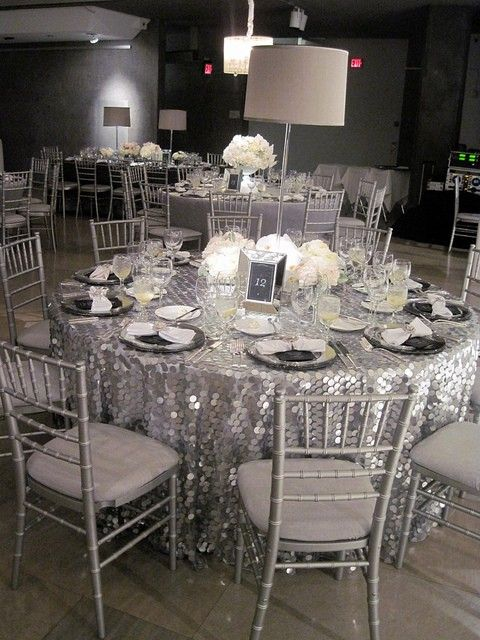 Grey Wedding, Silver Wedding Color Palettes, Shimmer Table Cloth, Table  Setting
