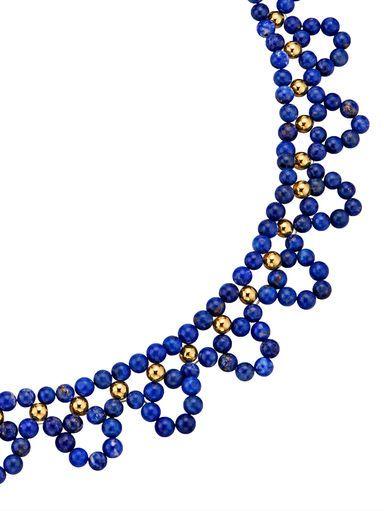 Traumhaftes, elegantes Collier aus 1.001 Nacht! Der Mix aus blauen und goldenen Perlen macht diese Kette zu einer überaus runden Sache. #Schmuck