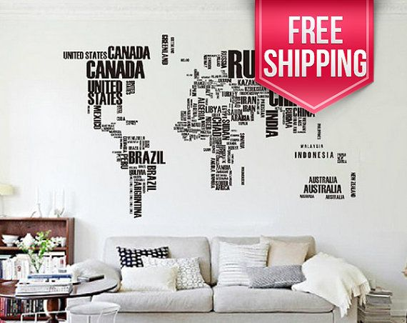 Typography world map world map wall by stickerworkshopetsy maps typography world map world map wall by stickerworkshopetsy gumiabroncs Images