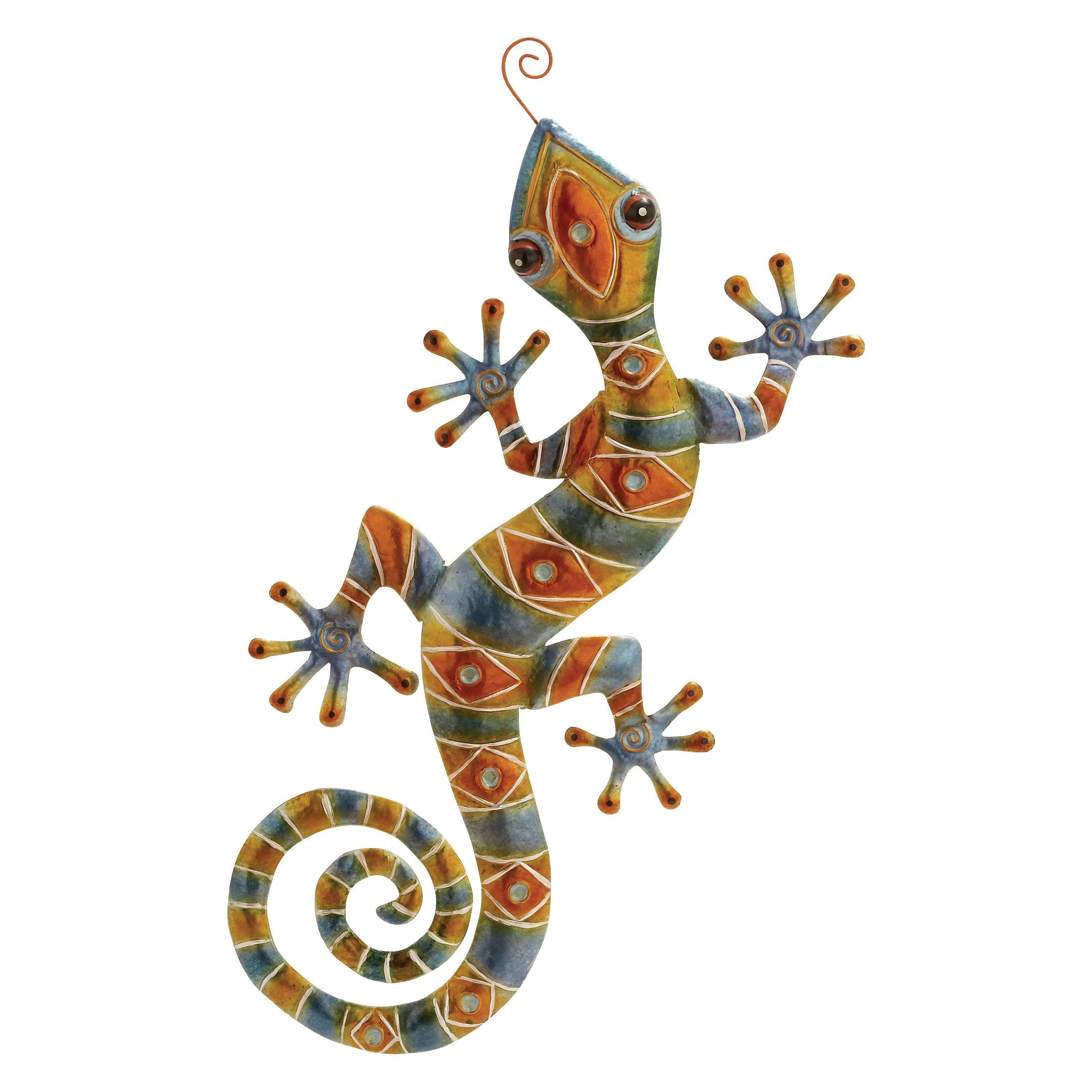 Decmode geometric metal lizard wall sculpture products
