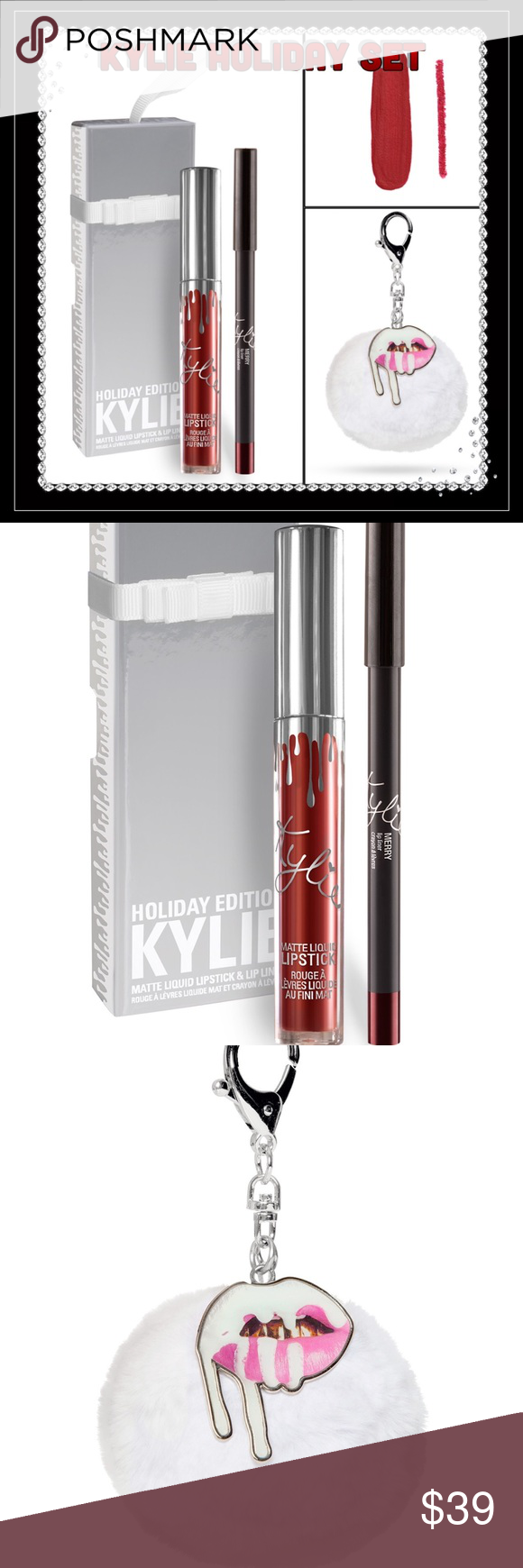 Kylie Cosmetics Holiday Set Contains: 1 Matte Liquid Lipstick (0.11 fl oz./oz. liq / 3.25 ml) and 1 Pencil Lip Liner (net wt./ poids net  .03 oz/ 1.0g). This Lip Kit comes with a Matte Liquid Lipstick and matching Lip Liner. This special shade is infused with diamond powder and packaged in limited edition silver packaging for the holiday season. Merry is a deep rich red.                   You will also get the adorable Limited Edition Pom Pom Keychain! No low ballers or trades. Use the offer…