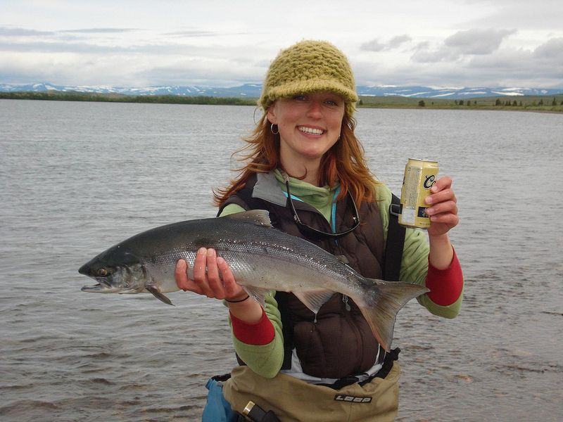 Now That Is Fly Fishing Success Wrong Beer I Would Have A Sam Adams Any Sam Adams Fish Fishing Girls Salmon Fishing
