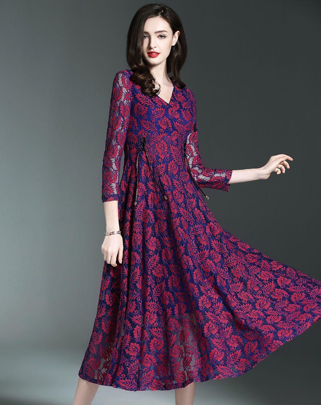 #AdoreWe #VIPme Swing Dresses - ES·DANNUO Purple V-neck Cut-out Lace Swing Midi Dress - AdoreWe.com