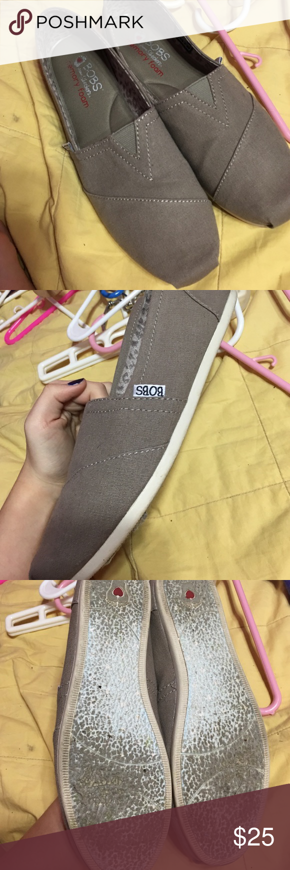 Memory Foam Taupe Bobs WORN ONCE, taupe color, dont fit me. Skechers Shoes Flats & Loafers