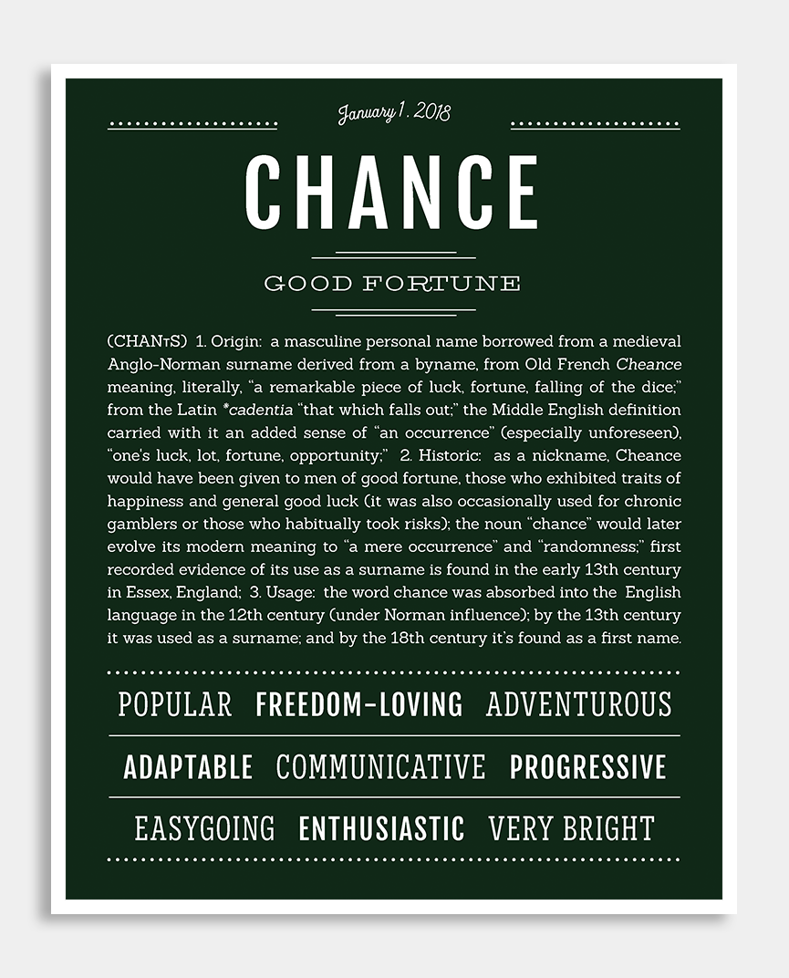 Chance | Classic Name Print | Classic names, Personalized ...