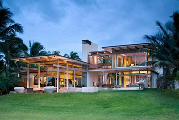 Tropical Modern House Design-designed by Pete Bossley Architects - Facade Maison Style Moderne