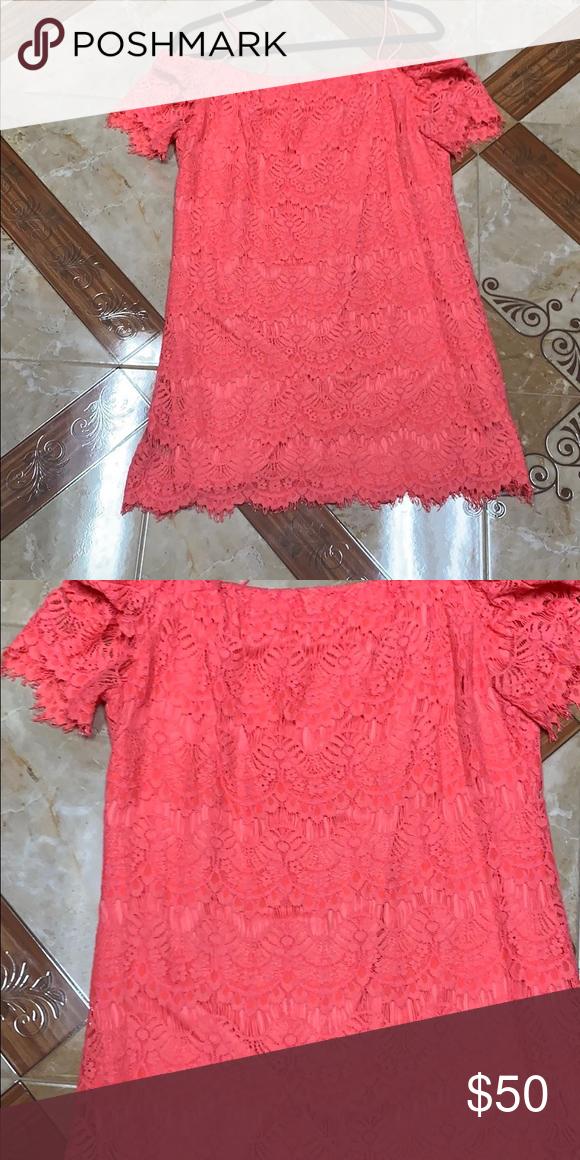 272602a6bb3a Top shop off shoulder lace coral dress Beautiful off the shoulder lace  coral dress. This