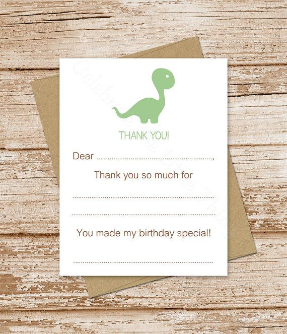 Printable Dinosaur Thank You Cards Birthday Fill In The Etsy Thank You Cards Card Set Printable Thank You Cards