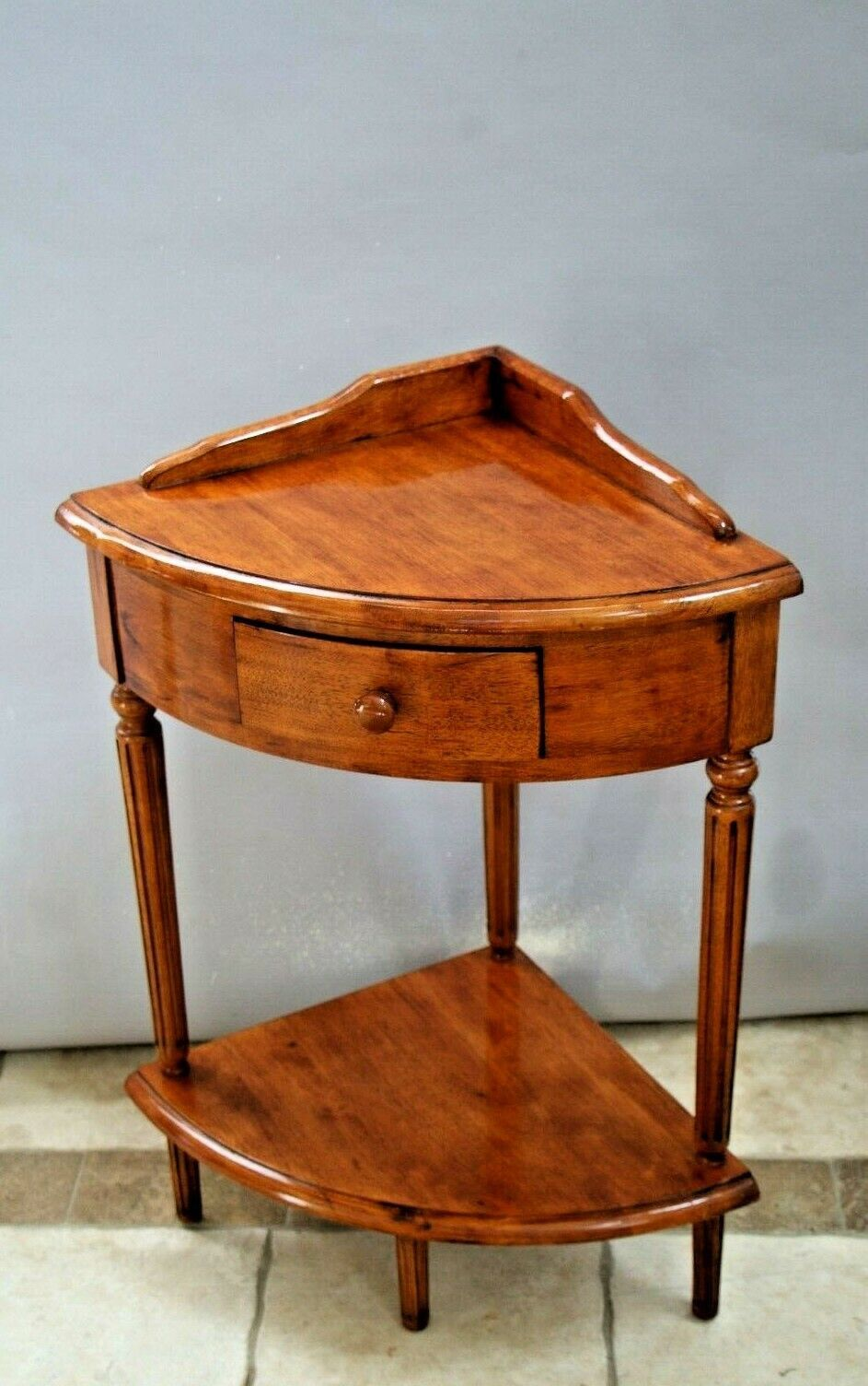 Vintage Corner Side Table With Drawer And Bottom Shelf Solid Walnut Pie Shape Side Table With Drawer Side Table End Tables With Drawers