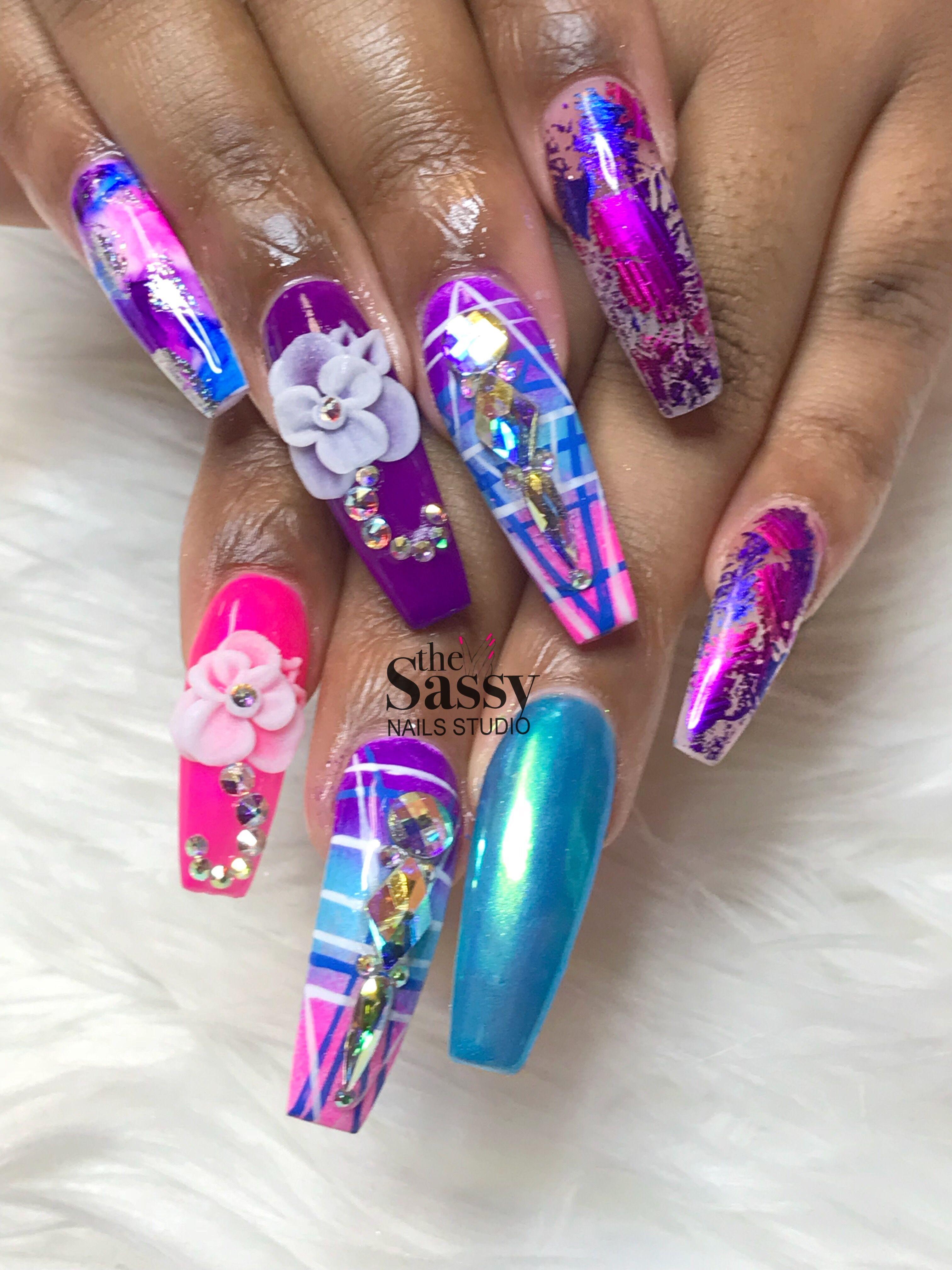 Stiletto nails #unicorn nails #treasure nails #long nails #coffin ...