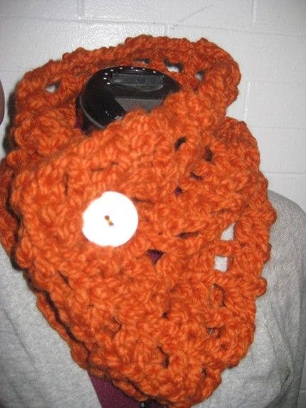 Pumpkin Cowl from my Etsy shop. I want to wear it every day. $40