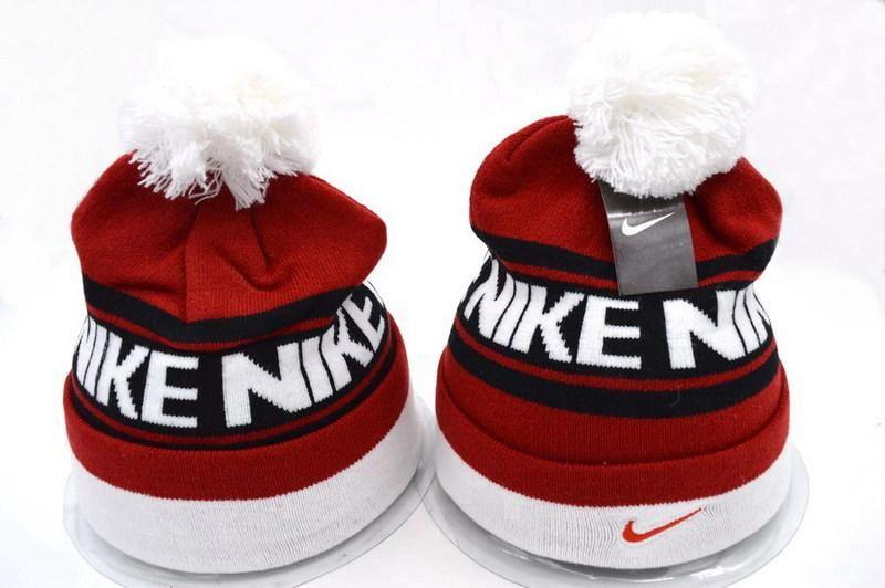 90c1b9d37ee Mens   Womens Nike Striped Nike Stock Logo Cuff Winter Warm Skullie Knit  Pom Beanie Cap - Black   Red   White