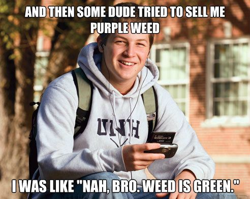 "Some dude tried to sell me purple weed. I was like ""nah bro, weed is green"""