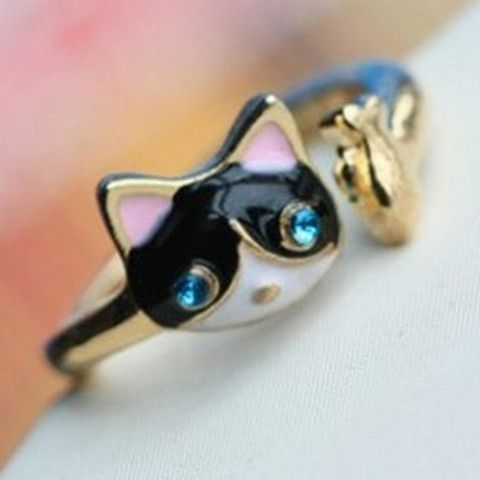 Rhinestone Cat And Fish Ring - Just Pay Shipping